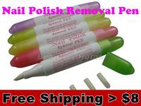 2 pcs/pack, Nail polish remover pen, Nail art tools + 3 nib, Recyclable use ,5 colors, Freeshipping #0868