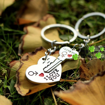 10pairs/lot free shipping Personalized heart couple key chain love key popular fashion metal keychain for couples in love