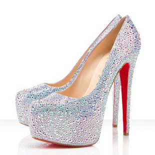 Free shipping Women's sexy shoes crystal shoes platform ultra high heels red wedding shoes red sole bridal shoes rhinestone 03