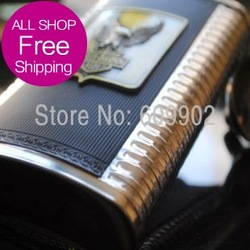 10oz Stainless Steel Hip Flask for Liquor Metal Logo Plus one Funnel #10EAG(China (Mainland))