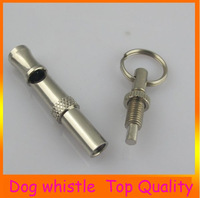 Wholesale 50pcs/lot Top quality Pet Training Adjustable Ultrasonic Sound Key chain Dog Stainless Steel Whistle freeshipping 5CM