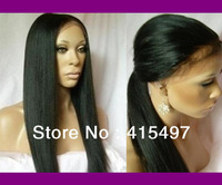 Premium Quality popular women yaki straight front lace wig 100% Indian Remy Human Hair natural baby hair soft beauty hot