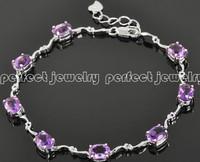 Amethyst bracelet Natural amethyst chain bracelets 925 silve plated 18k white gold Free shipping  fine jewelry chain bracelet