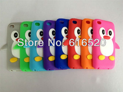 10pcs/lot 3D Cute Penguin Soft Back Cover Skin Case for Apple iPod Touch 4G 4 Gen free Shipping via Post(China (Mainland))