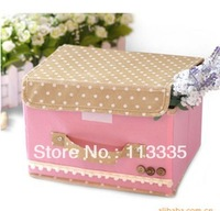 (free shiping CPAM) 26*20*17cm non-woven folding storage box  cover  sorting box with 5 color
