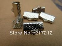 16MM 250Pcs Ribbon End Connectors Flat Cord Metal Final Hook Jewelery Findings