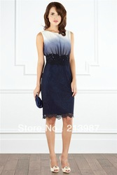 Free shipping! 2013 new design Coast o-neck gradient color dress lace decoration slim fashion tank dress ct8915(China (Mainland))