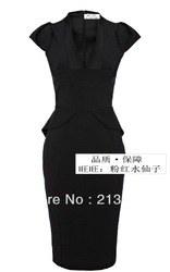 Free shipping! 2013 new offie lady outfit black businesse wear women V-neck km short-sleeve slim one-piece dress dp004(China (Mainland))