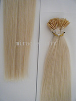 "24"" 24inch 613# Lightest Blonde Color Stick I tip Prebonded Human Hair Extensions Indian Remy 1g/s 100g 100strands/pack AAA HY03"