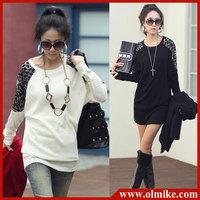 free shipping ladies' new fashion wild leopard stitching cotton long-sleeved t shirts knitted Sweater T-shirt women coat WA012