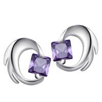Wholesale 100% Pure 925 Sterling Silver Amethyst stud earrings fashion women jewelry YA1400