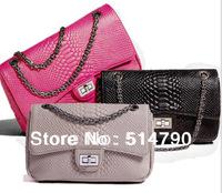 Luxury Design Good Quality Cobra Snake Pattern Calf Leather Oblong Shape Charming Chain Flap Shoulder Bag&Purse(Valentine's gift