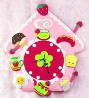 Handmade DIY The strawberry's home wall clock,Polypropylene nonwoven fabric Handmade DIY clocks,Via free shipping