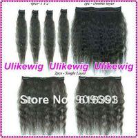 Deep wave 100%Malaysian virgin human hair extension- clips in hair weft
