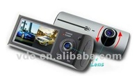 "Free Shipping 2.7"" TFT LCD HD Dual Lens GPS G-Sensor X3000 Car Video Camera(GD-01)"