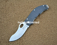 Navy K617 Pocket EDC Folding Knife 440c Blade G10 Handle Liner Lock w/ Clip &amp; Lanyard Hole &amp; Camo Draw String Bag