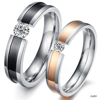 Valentine's Day good gift Titanium Steel Rhinestone Ring GP Couple Wedding Bands Jewelry lovers Finger 291
