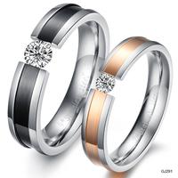 Valentine's Day good gift Titanium Steel Rhinestone Ring GP Couple Wedding Bands Jewelry lovers Finger 291