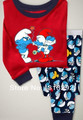 P391, Smurf, Baby/Children pajamas, 100% Cotton Rib long sleeve T shirt + pant sleepwear/clothing sets for 2-7 year.