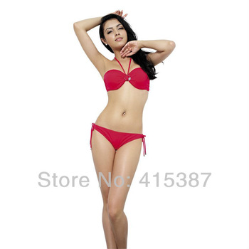 Free Shipping 2013 Cool Women Female Red Black Blue Sexy Bikini Swimsuit Swimwear , YZ-162008