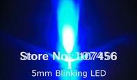 100pcs/lot free shipping!!! 5mm flashing Blue LED(8000mcd)5mm blinking Blue 5mm light-emitting diode