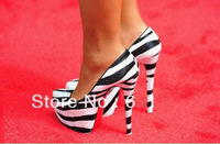Free shipping wholesale+retail.160mm zebra Leather daffodile Pumps red bottom high heel women dress shoes, Size 35-46
