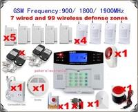 1 set x 106 zones GSM home alarm system wireless Burglar Alarm Auto Dialing