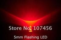 100pcs/lot free shipping!!! 5mm flashing Red LED(5000mcd)5mm blinking red 5mm light-emitting diode