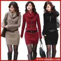 Fashion Autumn Long Sleeve High Collar Knitted Sweater Slim Mini Dress Women 4 Colors Free Shipping
