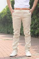 New 2014 Spring Summer Men Fashion Trousers Female Slim Casual Cotton Pants For Men K09V28