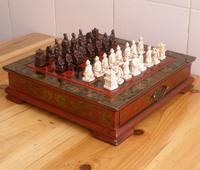 Antique Small qiziwan wooden desktop chessboard three-dimensional chessman
