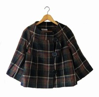 Fashion large cell . personality three quarter sleeve shirt poncho autumn and winter short jacket . plus size available