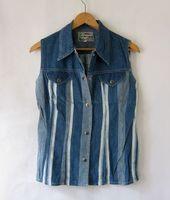 Fashion . water wash denim cotton coarse and fine stripe spring and summer slim turn-down collar vest . vintage