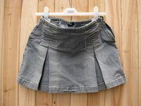 Pilot water wash wearing white denim short skirt pleated skirt belt elastic plus size available