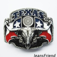 free shipping! TEXAS flag 3D details Steers skull belt buckle, mix order support, 3pcs/lot