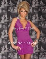 Free Shipping 2014 Fashion Sexy Club Dress Sexy Party Dress Exotic Clubwear Pom Nightwear Black Pink purple