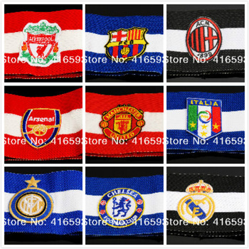 212-2013 Men Football Soccer Captain Armband Good Elastic Tension 9 Color:Man U+ Liverpool+Italia+Chelsea+AC Milian+Real Madrid