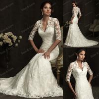 Free Shipping Wholesale Custom Made V-Neck Boice Lace with Sleeve Chiffon Wedding Dresses T2-0012