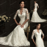 Free Shipping Wholesale Custom Made V-Neck Boice Lace with Sleeve Chiffon Wedding Dresses T2-0012