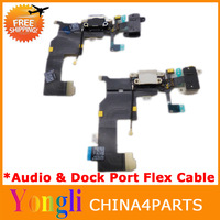 [OEM] 6pcs/lot High Quality Charger Charging dock Flex Cable Headphone Jack Black/White For iPhone 5 Free Shipping