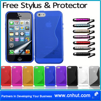 Free Shipping by Fedex!! 50 pcs S Line Gel Case Cover For Apple iPhone 5 IPHONE 5 5G + Screen Protector Film Blue