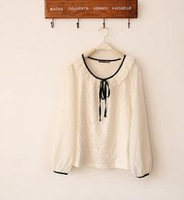 free shipping fashion women's long sleeve t-shirt chiffon lace white officelady shirt