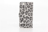 Leopard Pattern Case with card holder ,PU Leather Case For New iPhone 5 5G DHL Free Shipping
