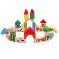 33pcs log intergards decorative pattern blocks birch building blocks toy