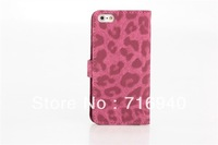 Leopard Pattern Case With Card Holder For New iPhone 5 5G DHL Free Shipping