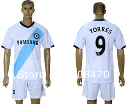 New Arrival 12 13 Chelsea away white #9 TORRES soccer shirts embroidery sports apparel Desinger football uniforms Free Shipping(China (Mainland))