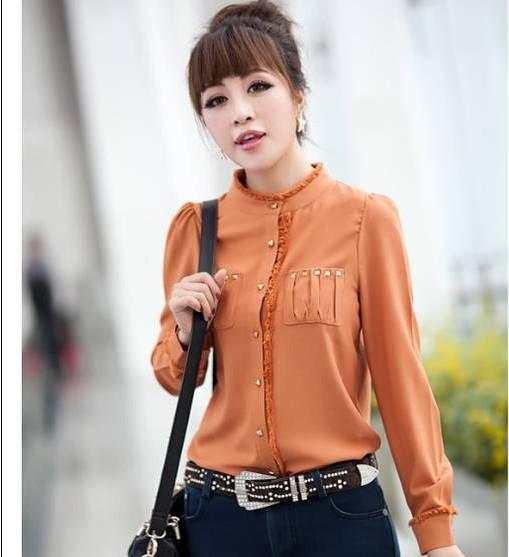 2012 hot sale spring autumn women s blouses OL outfit slim long sleeve fur collar shirts Cách lựa chọn áo kiểu nữ dự tiệc dành cho cô dâu.