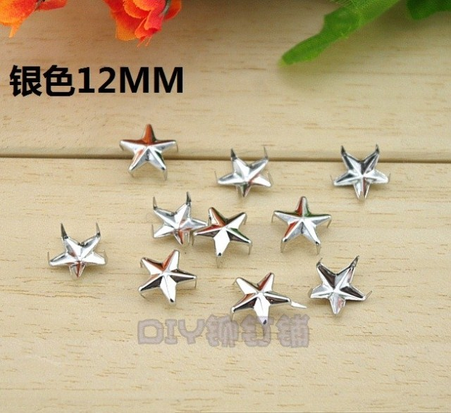 fashion punk rivets alloy diy clothing/bag/shoes accessories sliver claw nails pentagram star shape 1.2cm(China (Mainland))