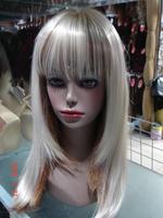 Free shipping White wig women's long straight hair oblique bangs fluffy fashion