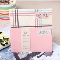 Korea stationery rustic plaid letter pad envelope set
